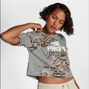 Nike the force is female graphic crop top tee grey
